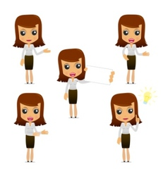 set of funny cartoon businesswoman vector image
