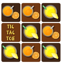 Tic-tac-toe of pineapple juice and orange juice vector