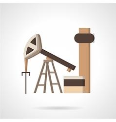 Oil pump jack flat color icon vector image