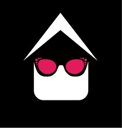 Eye wear shop logo- house with fashion eyeglass vector