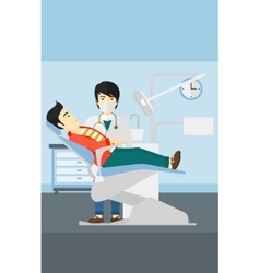 Dentist and man in dentist chair vector