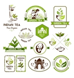 Green tea labels badges and banners vector