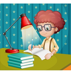 A boy studying vector image