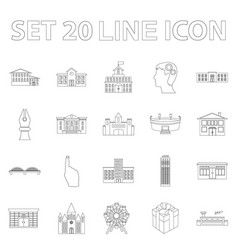 Building repair outline icons in set collection vector