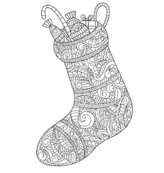 Christmas sock with gift coloring for vector