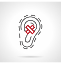 Ear diseases gray line icon vector