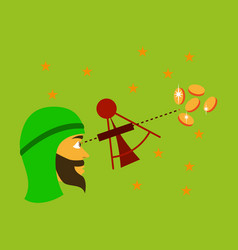Flat icon on theme arabic business astronomer vector
