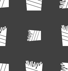 Fry icon sign seamless pattern on a gray vector