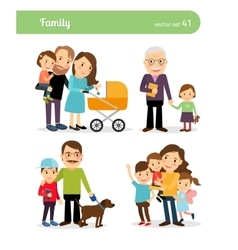 Happy family characters vector image