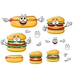 Happy hamburger hot dog and cheeseburger vector image
