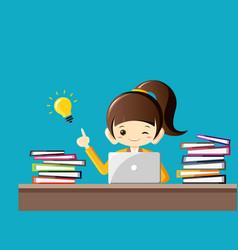 Hard working businesswoman gets an idea vector