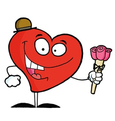 Heart Man Holding Roses vector image vector image
