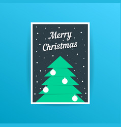 Merry christmas card with xmas tree and balls vector