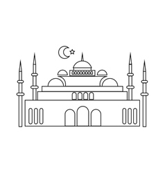Mosque icon in outline style vector