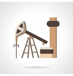 Oil pump jack flat color icon vector image