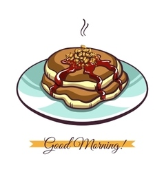 Pancakes with nuts and jam vector