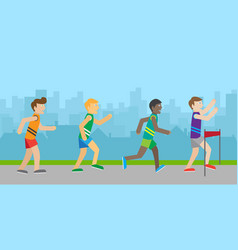 Runners on finish flat style vector