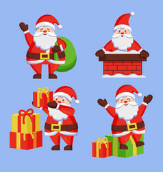 Santa clauses set icon snow chimney bag box vector