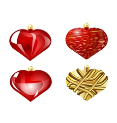 set of christmas heart vector image
