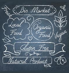 set of eco food lettering on chalkboard vector image vector image