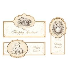 Set of vintage easter labels vector image