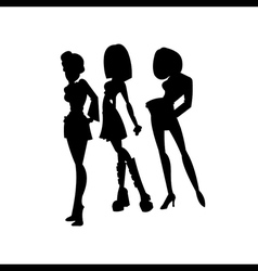 Set woman silhouettes vector