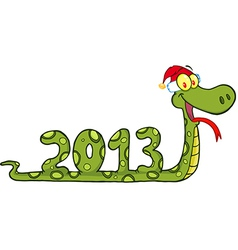 Snake showing numbers 2013 with with santa hat vector
