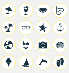 Sun icons set collection of ship trees sorbet vector