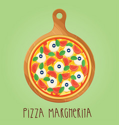 The real pizza margherita on wooden board vector