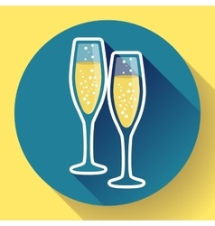 Two glasses of champagne flat icon - celebration vector image vector image