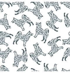 Typographic seamless pattern with dog silhouette vector