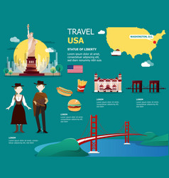 usa map and landmarks for traveling in united vector image vector image