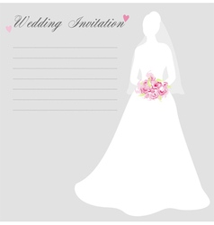 Wedding invitation with bride silhouette vector image