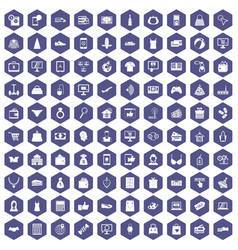 100 online shopping icons hexagon purple vector image