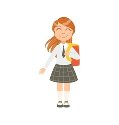 Girl In Black Checkered Skirt And Tie Happy vector image