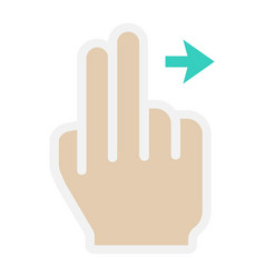 2 finger swipe right flat icon touch and gesture vector image
