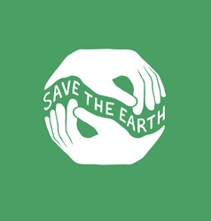 Save the earth earth day concept logo design vector