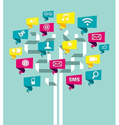 Social media network business tree vector