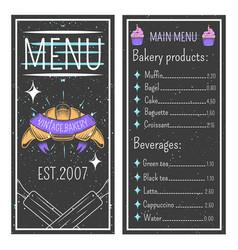 vintage bakery menu template vector image