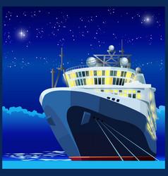 Ocean liner at night vector