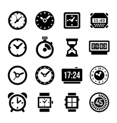 Clocks Icons Set on White Background vector image