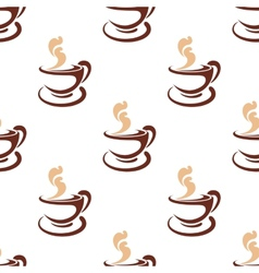 Seamless background pattern of steaming coffee vector image