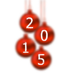 Happy new year 2015 in hanging glass ball on white vector