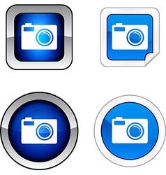Photo button set vector
