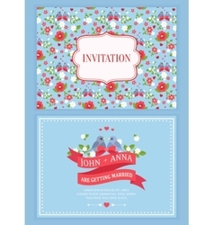 Cute wedding invitation card with floral pattern vector