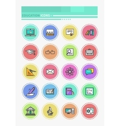 Set of thin lines icons education vector