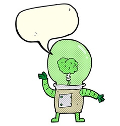 Cartoon robot cyborg with speech bubble vector