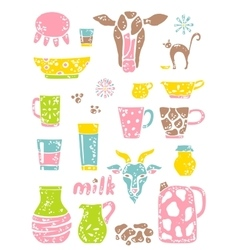 Set of milk things vol 2 vector