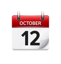 October 12  flat daily calendar icon date vector