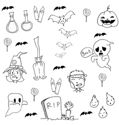 Halloween zombie and element in doodle vector